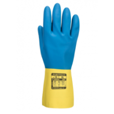 Portwest A801 Double Dipped Latex Gauntlet Yellow/Blue