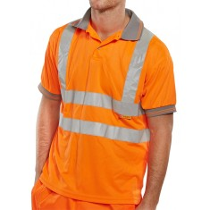 Beeswift BPKSEN Short Sleeved High Visibility Polo Shirt - Size Large