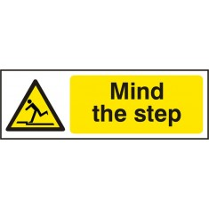 Beeswift BSS11107 Self Adhesive Vinyl ''Mind the step'' Safety Sign (Pack of 5)