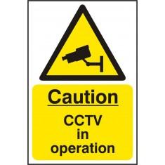 Beeswift BSS11215 Self Adhesive Vinyl 'Caution CCTV in Operation' Safety Sign (Pack of 5)
