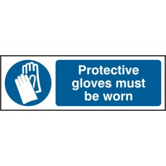 Beeswift BSS11392 Self Adhesive Vinyl 'Protective Gloves must be Worn' Safety Sign (Pack of 5)