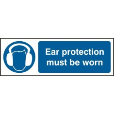 Beeswift BSS11404 Self Adhesive Vinyl 'Ear Protective Must be Worn' Safety Sign (Pack of 5)
