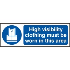 Beeswift BSS11688 Self Adhesive Vinyl 'High Visibility Clothing must be Worn in this Area' Safety Sign (Pack of 5)