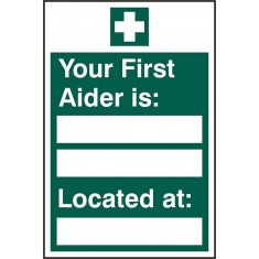 Beeswift BSS12044 Self adhesive vinyl Your First Aider is Located at Sign (Pack of 5)