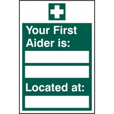 Beeswift BSS12045 Rigid PVC Your First Aider is Located At Sign (Pack of 5)