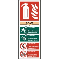 Beeswift BSS12306 Self adhesive vinyl Fire Extinguisher Foam Sign (Pack of 5)