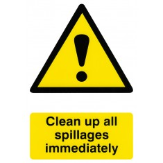 Beeswift BSS1330 Self Adhesive Backing 'Clean up all Spillages Immediately' Semi-Rigid PVC Safety Sign