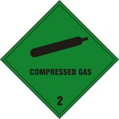 Beeswift BSS1869S Self adhesive vinyl Compressed Gas Sign (Pack of 5)