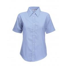 Fruit of the Loom Lady Fit Short Sleeve Oxford Shirt - Size Medium