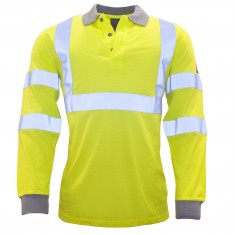 Portwest FR77 Flame Retardant Anti Static Hi Vis Long Sleeve Polo Shirt - Size Large