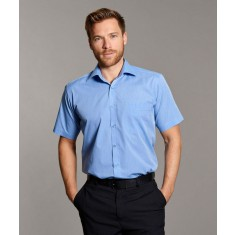"Disley H01CC End on End Cutaway Collar Short Sleeve Shirt - Collar Size 16"""