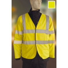 Yoko HVJ200FR High Visibility Flame Retardant 2 Band & Brace Jerkin (Long Sleeve)