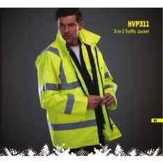 Yoko 3-in-1 Hivis Traffic Jacket (Inner Removable Gilet)