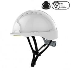 JSP AJG250-000-100 EVO®3 Micro Peak Linesman Slip Ratchet - White Ventilated Helmet