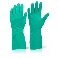 Beeswift NG Nitrile Gauntlet Flocked Lined Glove (Pack of 10)