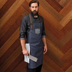 Premier PR136 Division Waxed-Look Denim Bib Apron with Faux Leather