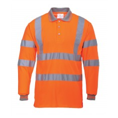 Portwest S277 High Visibility Long Sleeved Polo Shirt - Size Large